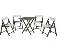 Conjunto de Cadeiras e Mesa de Madeira Tramontina Potenza Dobrável em Madeira Tauari Tabaco e Polipropileno Branco 5 Peças